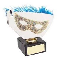 Trofeo carnaval dorado antifaz