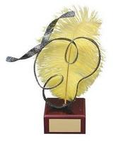 Trofeo carnaval pluma amarilla