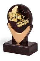 Trofeo combinado en Dorado y Madera para personalizar modelo Huerta