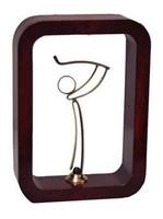 Trofeo cuadro marron Laton y Resina  Golf