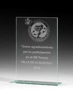 Trofeo de Cristal modelo Tasquillo personalizable
