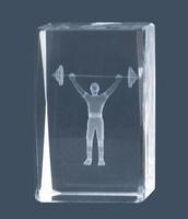Trofeo de Culturismo halterofilia Lozoya, cubo de cristal.