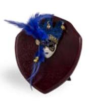Trofeo de Madera con mascara de Carnaval en azul modelo Nuxaa