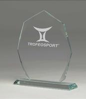 Trofeo de cristal formas rectas para personalizar Diego