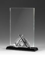 Trofeo de cristal optico con aplique plateado de golf danndo