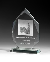 Trofeo de cristal optico grueso menspa
