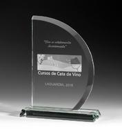Trofeo de cristal optico media luna cara recta