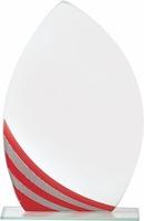 Trofeo de cristal personalizable en rojo lotostar