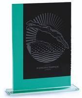 Trofeo de cristal verdoso formas rectas lapidado landy