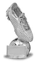 Trofeo de resina bota de futbol sobre balon kaste