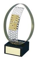 Trofeo dominó detalle aro dorado