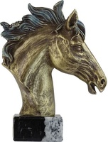 Trofeo dorado de busto de caballo