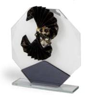 Trofeo en cristal con mascara de carnaval modelo Tonala