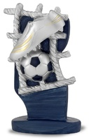 Trofeo en resina red, balon y bota sobre soporte en azul marks