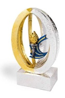 Trofeo escultura esférica combinada en dorado y plateado modelo Lerma