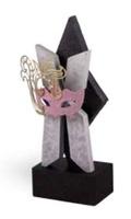 Trofeo escultura para Carnaval  en acabados plata y negro mod. Valdes