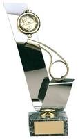 Trofeo fútbol árbitro reloj y silbato