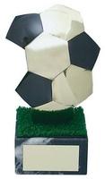 Trofeo fútbol balón negro y plateado.