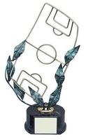 Trofeo fútbol campo de futbol con hojas laurel