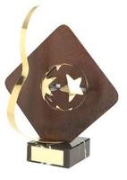 Trofeo fútbol rombo aplique balón estrella