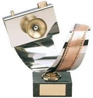 Trofeo fotografía carrete y cámara
