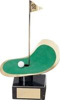 Trofeo golf banderín y césped
