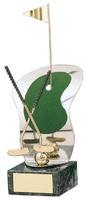 Trofeo golf palos y banderín dorados