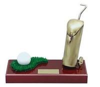 Trofeo golf pelota y bolsa de palos