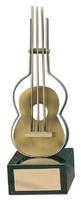 Trofeo música guitarra dorada