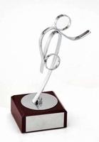 Trofeo peana madera Laton Bolos