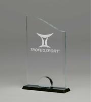 Trofeo personalizable en cristal con forma de curva superior