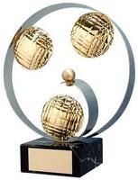 Trofeo petanca circulo plateado bolas dentro