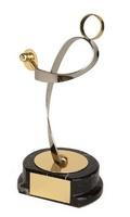 Trofeo ping pong jugador latón dorado
