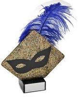 Trofeo pluma azul Laton Carnaval
