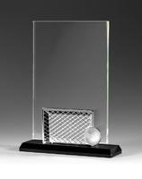 Trofeo rectangular peana negra con aplique futbol symos